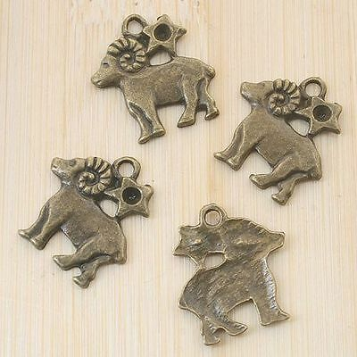 12pcs antiqued bronze sheep pendant charm G864