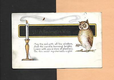 Spooky OWL, Mysterious CANDLE On Vintage 1920 HALLOWEEN Postcard