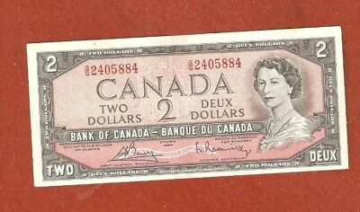 1954 Two Dollar Bank Note Uncirculated with a couple very tiny folds L929