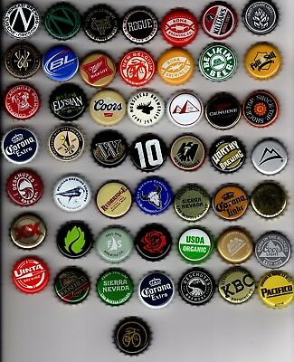 Lot of 50 different Beer Bottle Caps- Bottlecaps- Brewery- Ale Bier Mostly U.S.