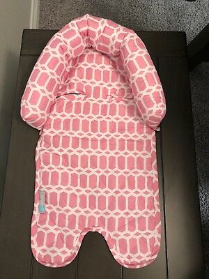 On the Goldbug Infant Head Support, Pink, White Print/ Baby Insert For Car Seat
