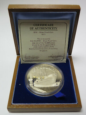 1977 SM Singapore $10 Proof Silver Coin KM# 15 W/ Wood Box & COA