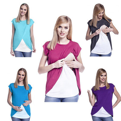 Maternity Breastfeeding Tops Pregnant Mother Nursing Clothes Casual T-shirt Vest