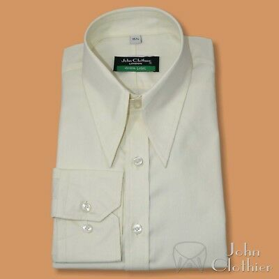 Spear point collar shirt Cream 1930's 40's Vintage Classic fit WWII Cotton Mens