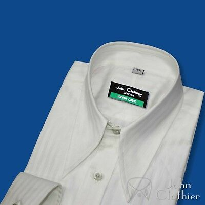 Mens Spearpoint collar shirt White stripes Cotton 1930s Vintage WWII Classic fit