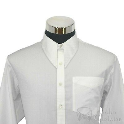 Mens Spear point Vintage collar shirt White check Cotton 1930s Classic WWII Gent