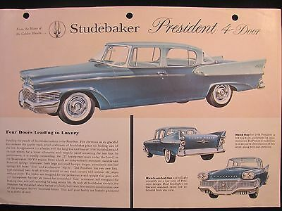 1958 Studebaker Original Data Spec Sheet Brochure President 4-Door