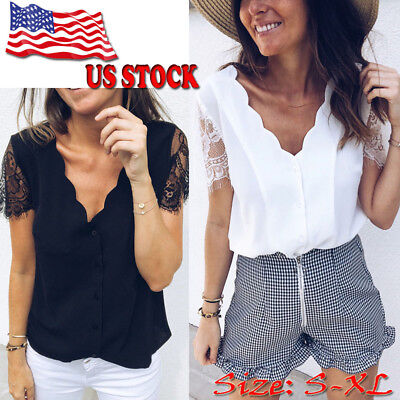 Fashion Women Summer Loose Top Lace Sleeve Blouse Ladies Casual Tops T-Shirt