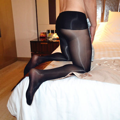 Men Seamless Super Shiny Gloss Pantyhose Nylon Stockings Silicone Massage Tights