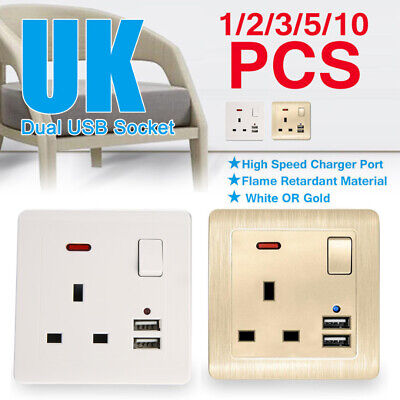 13A White/Gold Plastic Single Wall Socket UK Plug Outlet Switch With 2 USB Port