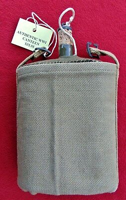 Wwi British Army Canteen ~ 1916 ~ Rare With Canvas Cover ~ From Dad's Estate