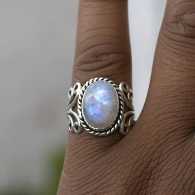 Tibetan Jewelry Oval Natural Gemstone Sterling Silver Rainbow Moonstone Ring