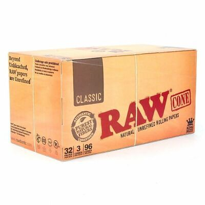 RAW King Size Cones 110mm Pre Rolled Tobacco Paper Rolling Cone Full Box X 32