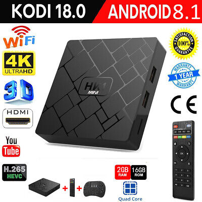 HK1 MINI TV Box Android 8.1 2GB+16GB 4Kx2K 3D WiFi Player+Air Mouse Keyboard Set