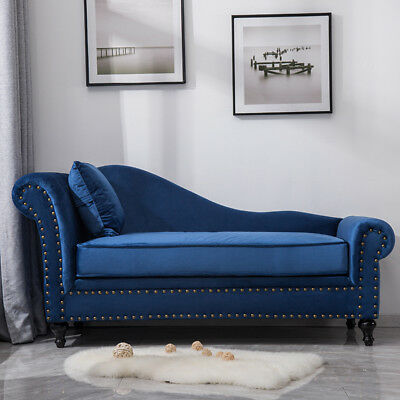 Queen Anne Velvet Tufted Studs/Button Chesterfield Sofa Chaise Longue Lounge Bed