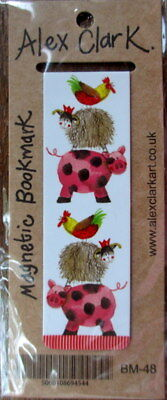 Farm Animals Small Magnetic bookmark Alex Clark Xmas Gift 8 cm Pig Sheep Chicken