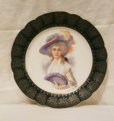 Moschendorf ROYAL VIENNA STYLE Portrait Plate Lady With Fan c. 1900-1920 BAVARIA