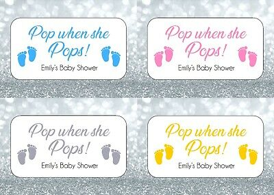24 Personalised 'POP When She Pops' Baby Shower Stickers Feet Foot Prints New