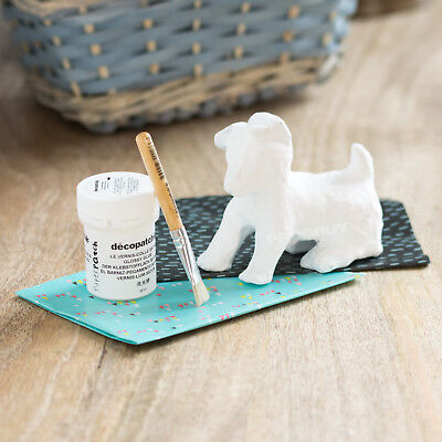 Decopatch Dog Model Mini Kit Childrens Art Glue Brush Paper Mache Decoupage Set