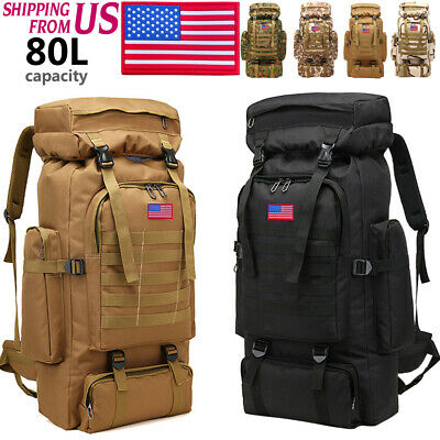 80L Military Large Shoulders Backpack Waterproof Tactical Climbing Hiking bag