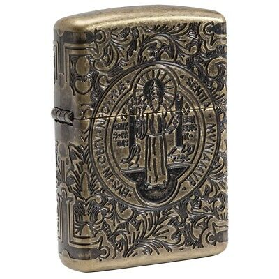 Zippo 29719, Medal & Cross of St. Benedict, Armor, Antique Brass Lighter