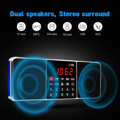 Portable Digital LCD FM Radio MP3 Music Player TF Card USB AUX Stereo Speaker