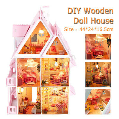 DIY Wooden Kids Doll House With Furniture & Staircase Fits For Barbie Dollhouse