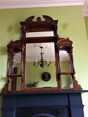 Large Antique Overmantle Mirror, Carved Mahogany, Edwardian.