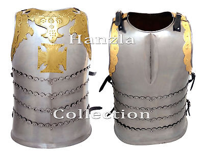 Medieval Templar Steel Suit of Knight Armor Brass Chest Plate Jacket Reenactment