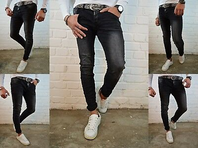 HERREN BASIC STYLE GREY YOUNG SKINNY Fashion STONEDWASHED SKINNY FIT JEANS HOSE