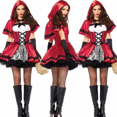 Adult Women Halloween Little Red Riding Hood Costume Cosplay Fancy Dress