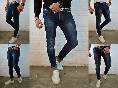 HERREN BASIC BLUE YOUNG DESTROYED Fashion STONEDWASHED SKINNY FIT JEANS HOSE