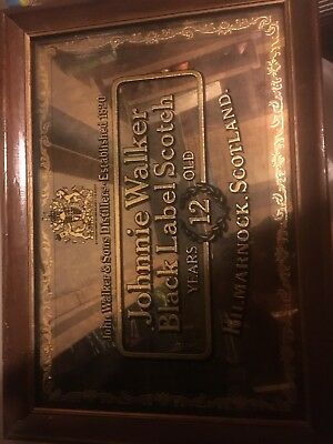 Vintage Johnnie Walker Black Label Scotch Mirror
