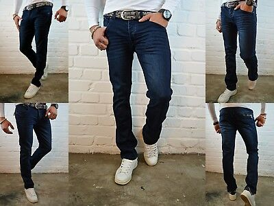 HERREN BASIC BLUE YOUNG DESTROYED Fashion Straight Cut SKINNY FIT JEANS HOSE
