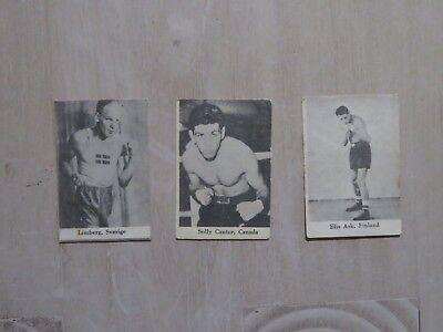 Lot of 3 old boxing cards Solly Cantor Canada Elis Ask Finland Limberg Sweden