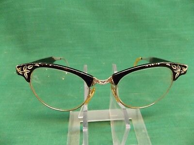 Vintage ladies horn rimmed cat eyeglasses glasses. ARTCRAFT 1/10 12 kgf bridge