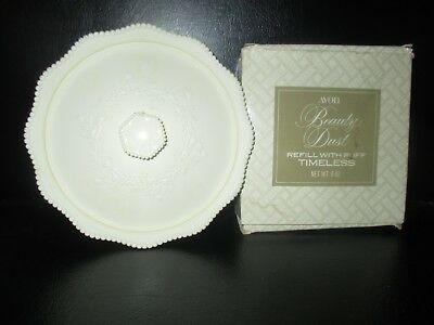 Avon NOS Vintage BEAUTY DUST Powder Puff CONTAINER w/TIMELESS DUST -1970's