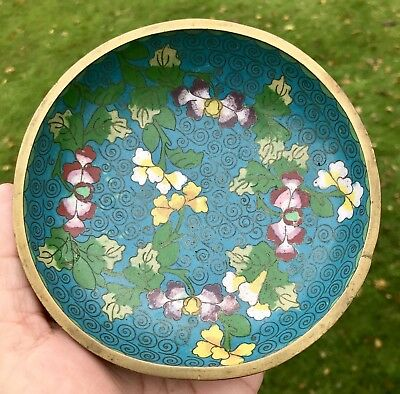 Antique Footed Chinese Cloisonne Bowl 3 Brass Feet Dish Blue Floral RARE Vintage