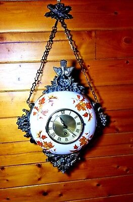 Vintage/Unique German Ceramic Brass detailed 8 Day Wind Up Wall Clock  Running!!