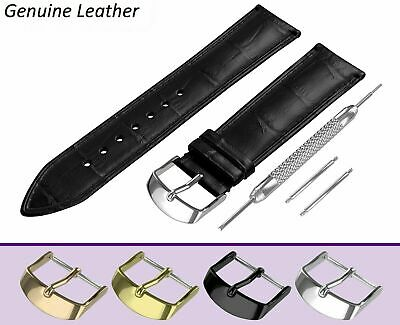 Fits FOSSIL Black Genuine Leather Watch Strap Band For Buckle/Clasp 12-24mm Pins