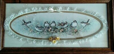 "VINTAGE 1983 Margie Morrow ""Sparrows"" Print Wood Frame Lace & Flower Accents"