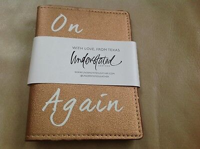 "Understated Leather ""On The Road Again"" Bronze Vegan Leather Passport Holder NWT"