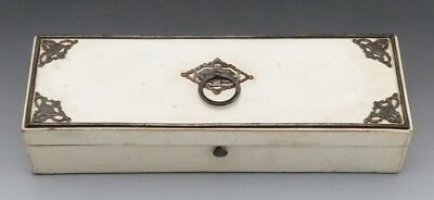 Narrow Antique Victorian Iron and Wood Paper-Lined Trinket or Jewelry Box