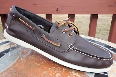 8588f734f2a70 Tommy Hilfiger BOWMAN Mens Size 11.5 BROWN Leather 2 Eye Boat Shoes