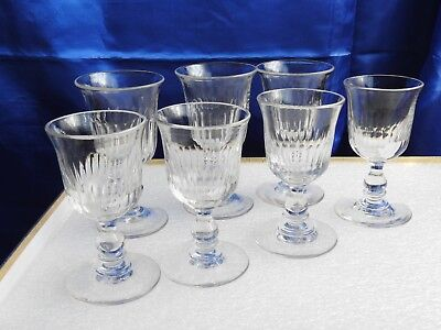 7 anciens verres a vin du XIX°- forme tulipe - ART DE TABLE-old glasses cristal