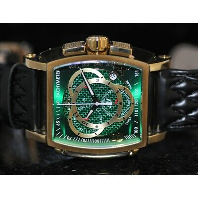 Invicta Men's Rare S1 Rally Swiss Chrono Green Dial Black Leather Watch 6465