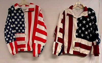 Lot of 2 Vintage USA Flag Jackets 80s 90s Embroidered Stars Limited Edition