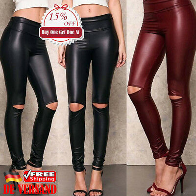 db8d415842ac31 Damen Mode Ripped Laufhose PU Leder Leggings Leggins Röhre Tregging Skinny  Hose