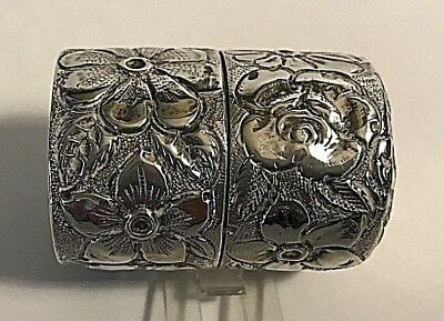 Antique Repousse Galt & Davis Sterling Silver Thread Holder Sewing Box #27