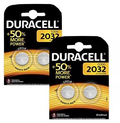4 x GENUINE Duracell CR2032 3V Lithium Coin Cell Battery button DL2032 NEW